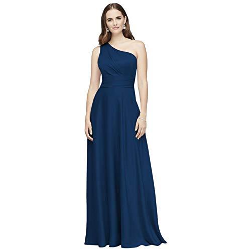 David's Bridal Satin Crepe One-Shoulder Bridesmaid Dress Style OC290063, Marine, 2