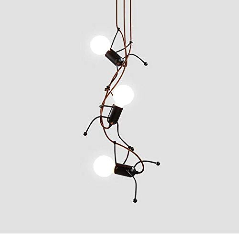 Led Lightmodern Eisen 3-Lights Deckenpendelleuchte Persnlichkeit Kreative Menschliches Modell Hngende Lampe Kette Einstellbar Für Esszimmer Wohnzimmer Schlafzimmer Innenbeleuchtung Leuchten