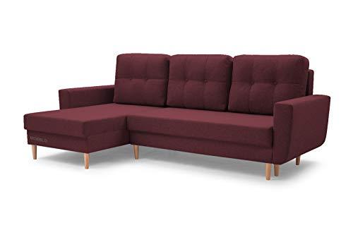 MOEBLO Sofa mit Schlaffunktion und Bettkasten, Couch für Wohnzimmer, Schlafsofa Federkern Sofagarnitur Polstersofa Wohnlandschaft mit Bettfunktion - Coral (Burgund, Ecksofa Links)