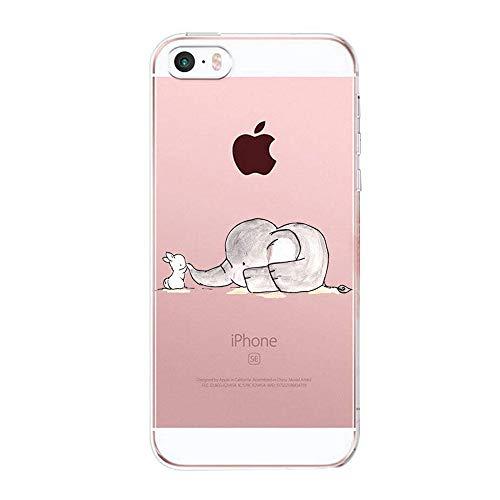 Caler Kompatibel mit/Ersatz für Hülle iPhone SE/5S/5 Hülle Weiche Flexible Silikon-Handy-Hülle Transparente Ultra Slim TPU dünne stoßfeste mit Motiv Tasche Etui Case Cover (Elefanten)