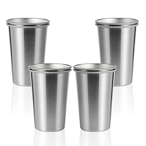 SMLIXE 8 Pack 16oz Stainless Steel Pint Cup,Healthy Unbreakable and Stackable,Metal Drinking Glasses