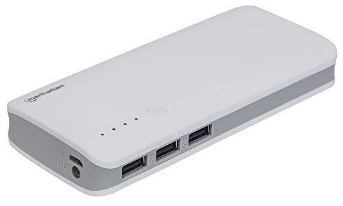 Manhattan Externes Ladegerät für Smartphones, Tablets und mehr, 10.000 mAh, mit 3 USB-Anschlüssen, leicht und tragbar
