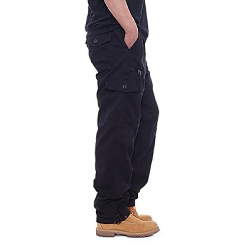 Hombres Monos Primavera y Otoño Color Sólido Cintura Elástica Más Tamaño Pantalones Multi-Bolsillo Sueltos Pantalones Largos, Negro, 34-37