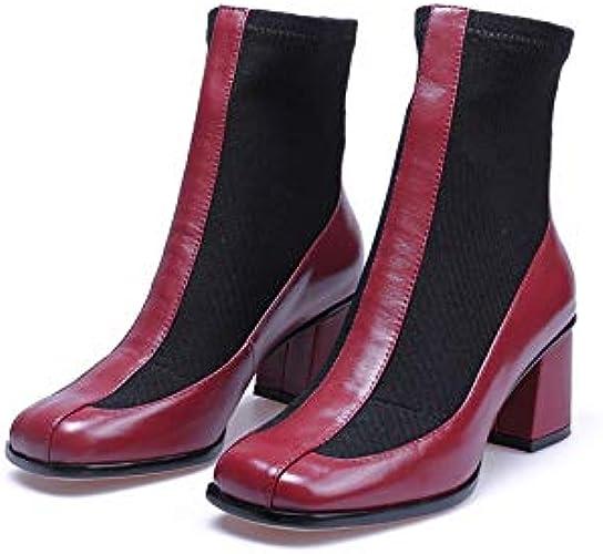 MENGLTX Talon Aiguille Talons Hauts Sandales Marque De Mode Bottes à La Cheville épaisses à Talons Hauts à Bouts Carrés, Chaussures De Dames, Chaussures De Fête Pour Femmes, Dames De Club, Bottes Basi