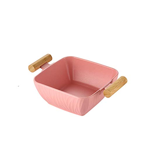YUTRD ZCJUX Plato de cerámica Creativo Plato de Fruta de Ensalada de Cocina con Tapa Bandeja de Almacenamiento de Plato de cerámica de Gran Capacidad 1300ml Plato Hondo
