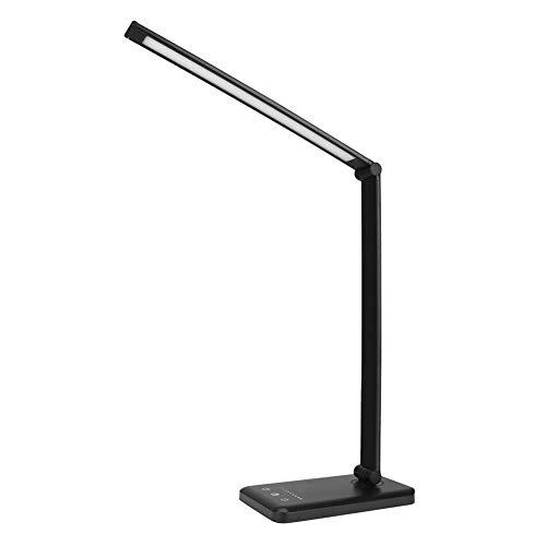 JiuXiuHeiShan-MY Luces De Lectura Stepless Dimmable Table Light Interruptor Táctil LED Lámpara De Mesa Plegable Swive Puerto De Carga USB Lámpara De Noche,Negro