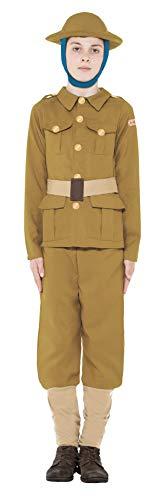Smiffys Licenciado oficialmente Costume Horrible Histories WWI Boy, Vert, avec haut, pantalon et chapeau