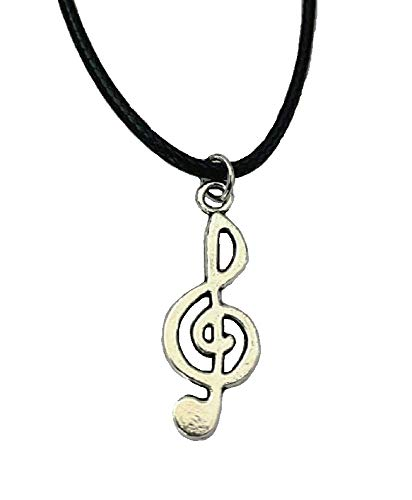 Silver Musical Note Necklace Tibetan Retro Pendant Fancy Dress Party Black Leather Corded Jewellery for Women Girls Men Boys