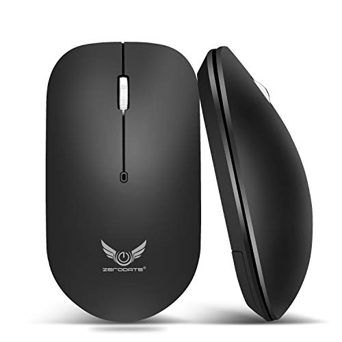 ZERODATE T20 2.4G Wireless Optical Mouse with Micro-Receive, 3-Button, 1600 DPI, Compatible with Laptop, PC, Mac, Desktop(Black)
