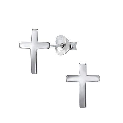Laimons - Orecchini da donna a forma di croce lucida, 11 mm, in argento Sterling 925
