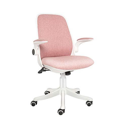 YU YUSING Bürostuhl Ergonomischer Schreibtischstuhl Klappbare Armlehnen Wippfunktion Höhenverstellung Drehstuhl Mesh,Rosa