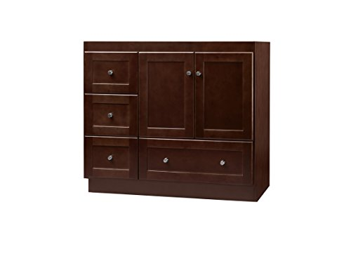 RONBOW Essentials Shaker 36 Inch Bathroom Vanity Cabinet Base in Dark Cherry Finish, with Soft Close Wood Doors on Right and Full Extension Drawers 081936-3R-H01