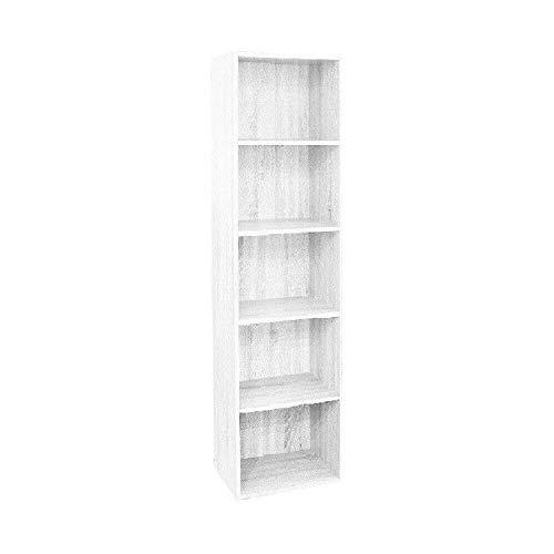 Gardenia Pronto Libreria in Legno per Soggiorno Cameretta a 5 Ripiani, 40 x 29 x h172 Cm Bianco Frassinato, H 172 cm