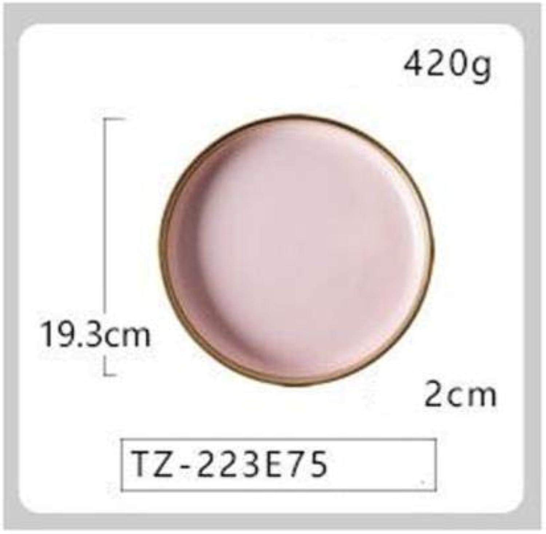 Yilala Plate Dish Ceramic Pink color Dinner Dishes Tableware Noodle Soup Bowl Porcelain Dinnerware Elegant Plates   Plate