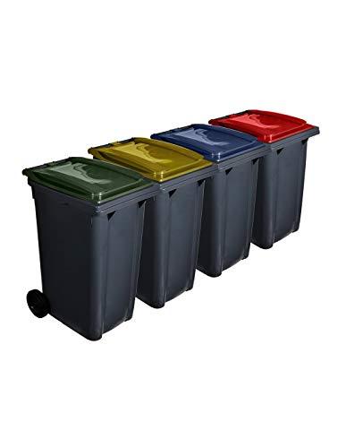Jardin202 Color: Verde   Contenedor de Basura reciclables 240L 2 Ruedas | Cubiertas Ecodiseño