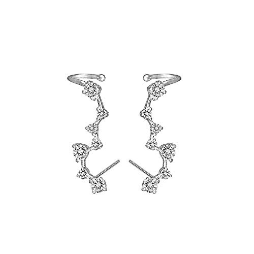 7 Crystals Ear Climber | Crawler Sterling Silver Stud Earrings for Women Girls Hypoallergenic Jewlary