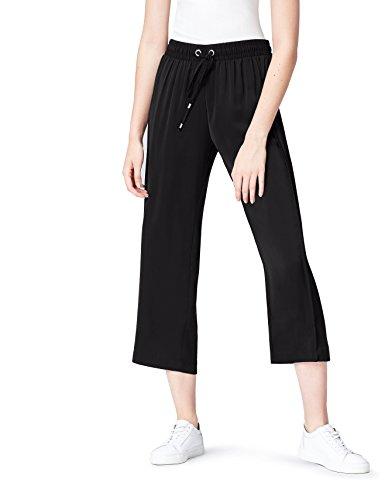 find. Hose Damen mit weitem geradem Bein und Bundfalten Schwarz (Black), 42 (Herstellergröße: X-Large)