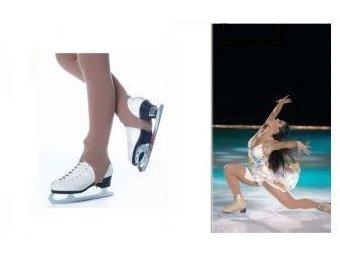STD Skates- Calze con staffe per pattini da pattinaggio artistico, in microfibra 3D da 50 denari, color caramello. Vita bassa- Calze con staffe per pattinaggio artistico, Caramello, S