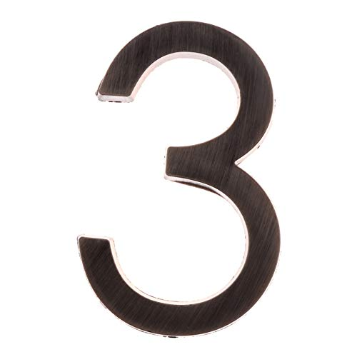 Zmaoyun-Números para casas Números de puerta de cromo Número de puerta DIRECCIÓN PLACHES for ALOJAMIENTO Apartamento de apartamento Suministros de decoración, Fácil instalación ( Color : Number 3 )