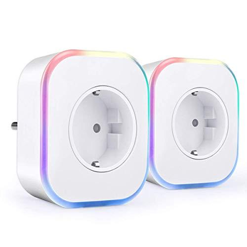 Enchufe Wifi, Hedynshine Enchufe Inteligente con USB, Control Remoto/Mando de Voz, Luces de Ambiente Colorido, Temporizador Enchufe, Compatible con Google Home/Amazon Alexa/Android/IOS(2 pack)