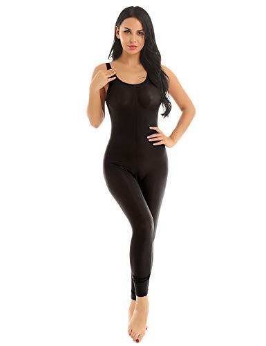 iEFiEL Damen Bodysuit Transparent Jumpsuit ärmellose Catsuit mit Reißverschluss Dessous Ouvert-Body Dessous Lingerie A Schwarz Einheitsgröße