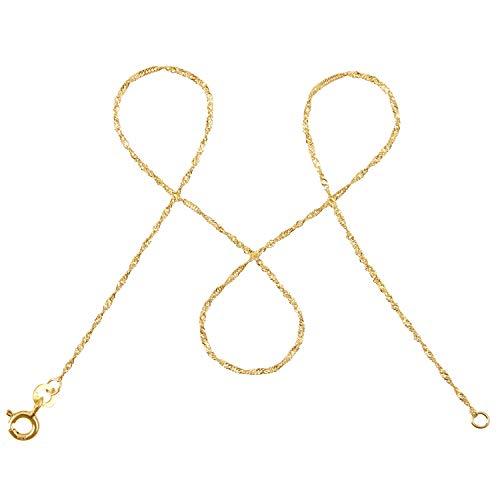 modabilé Damen Singapurkette aus 333er Gold (45cm I 1mm breit) I Goldkette 333 ohne Anhänger I Zarte Halskette für Frauen I Echte Kette + Etui I Goldkettchen Produziert in Deutschland