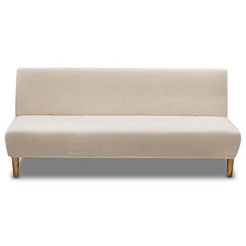 Carvapet Armless Sofa Cover Stretch Futon Cover Elastic Fabric Solid Sofa Couch Covers Universal Fitted Full Folding Sofa Bed Slipcover Furniture Cover Protector (Beige)