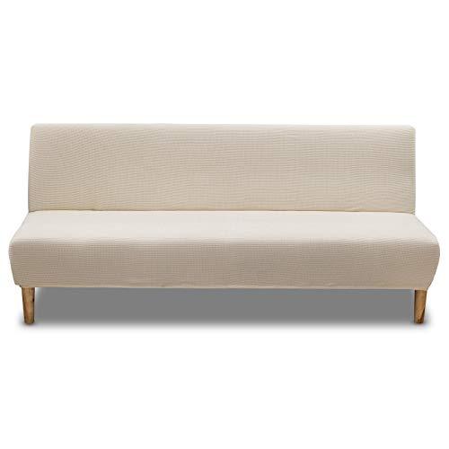 Carvapet Elástica Fundas de Sofá Sin Brazos Funda Sofa Clic Clac Sofá Protector Antideslizante Cubre Sofá (Beige)