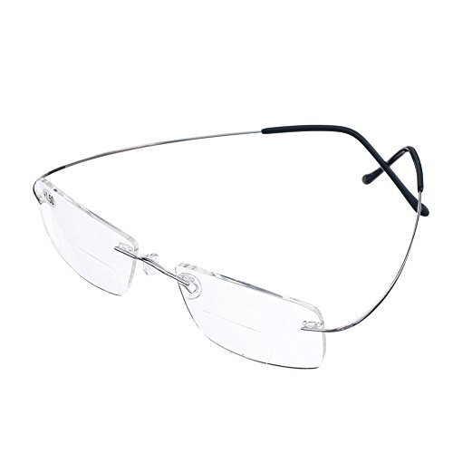 Bi Tao Super Light 100% Titanium Bifocal Reading Glasses Men Women Fashion Rimless Reading Eyeglasses + Eyewear Case(Silver,+2.50)