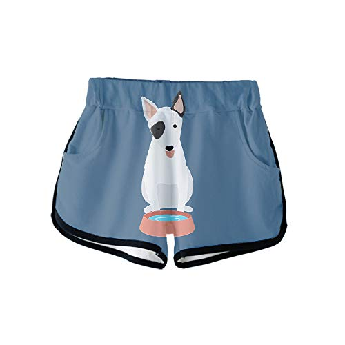 URVIP Damen Bulldogge Shorts 3D Druck Kurze Hose Badehose Freizeithose Jogginghose Sporthose Trainingshose Jogger Sweatpants Hund-02 S