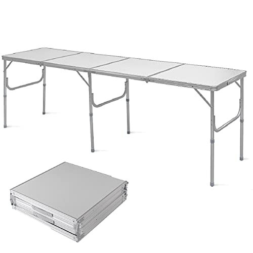 COSTWAY Folding Camping Table with Carrying Handles, Aluminium Lightweight Compact Party Dining Table, Outdoor Indoor Kitchen Garden Patio Portable Picnic BBQ Table