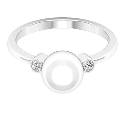 Anillo de boda de 4 quilates certificado de perlas antiguas de oro, solitario anillo de piedras preciosas para novia, 14K Oro blanco, perla de agua dulce, Size:US 61