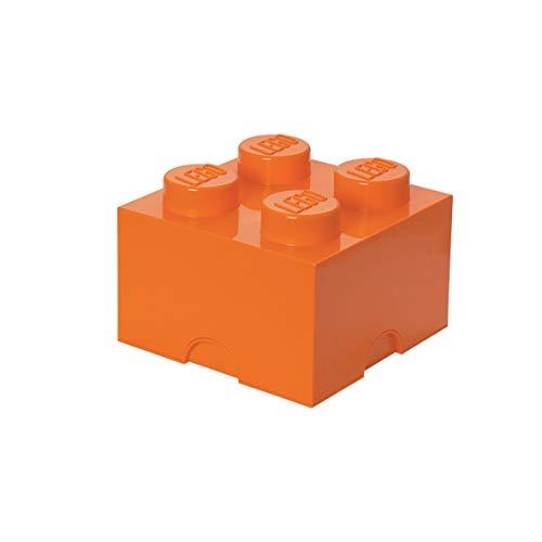 Room Copenhagen Ladrillo de Almacenamiento de 4 espigas de Lego, Caja de almacenaje apilable, 5,7 l, Naranja, Bright Orange, One Size