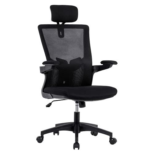 Matrex Mesh Bürostuhl Ergonomischer Schreibtischstuhl, Klappbaren Armlehnen, Verstellbare Kopfstütze, Lendenstütze