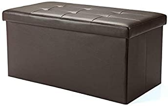 Rectangular Bench Cushion and Storage PU Leather Type BROWN