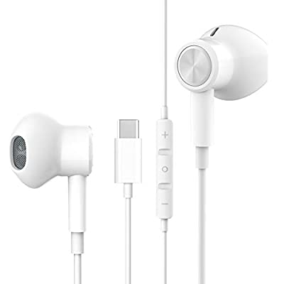 USB C Headphones HiFi Stereo Magnetic USB Type C Earphones USB C Earbud with Mic Volume Control for Google Pixel 5 4 3 2 XL, Huawei P40 P30 P20 Mate 20, iPad Pro 2018, OnePlus 6T 8T Samsung S21 S20 by Biseoamz