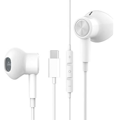 USB C Kopfhörer HiFi Stereo Magnetic USB Typ C Kopfhörer USB C Kopfhörer mit Mikrofon und Lautstärkeregler für Huawei P30 P20 / Mate 20,Google Pixel 2/3/4/XL,iPad Pro 2018, OnePlus 6T, Xiaomi mi 8