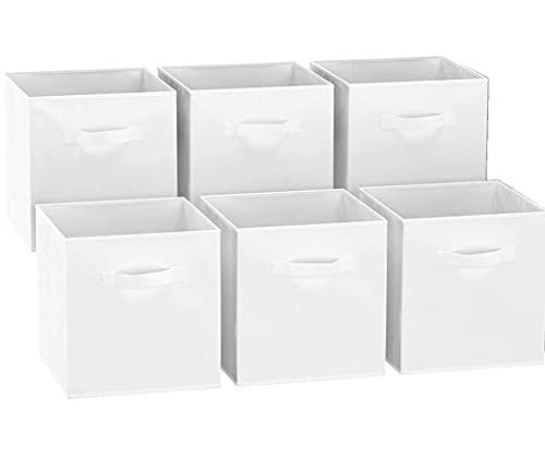 GREATOOL Caja de Almacenaje Plegable, Pack 6 Unidades 31x31x31cm, Cajas organizadoras en Tela, Caja para organizar Ropa, Juguetes y Sábanas en Armarios (6 Unidades, Blanco)