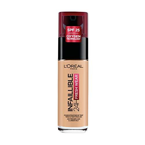 L Oréal Paris Fondotinta Liquido Infaillible 24H Fresh Wear, A Lunga Tenuta, Protezione Solare SPF25, Sable Doré (200), 30 ml