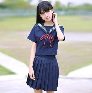 (SUNLIKE)紺セーラー 半袖トップス+スカート Mサイズ