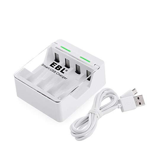 EBL Caricabatterie 4 Slot con Porta USB per AA o AAA Ni-MH e Ni-CD Batterie Ricaricabili