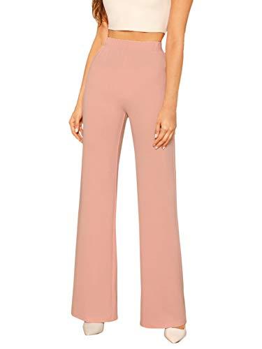 DIDK Damen Hosen Hohe Taille Breites Bein Lange Elastischer Bund Hose Palazzo Einfarbig Anzughose Büro Pants Elegant Pink#2 S