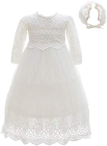 Meiqiduo Baby Girls Lace Party Dresses Infant Princess Wedding Gowns Birthday Formal Dress for product image