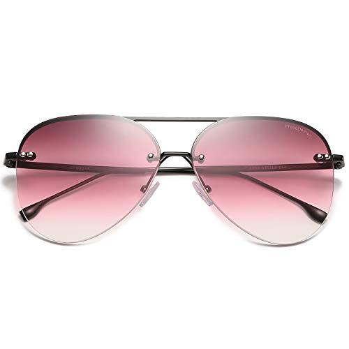 ProudDemon Gafas de Sol Hombre Aviador UV400 Moda Protección Lentes de Sol Marco negro y lente rosa
