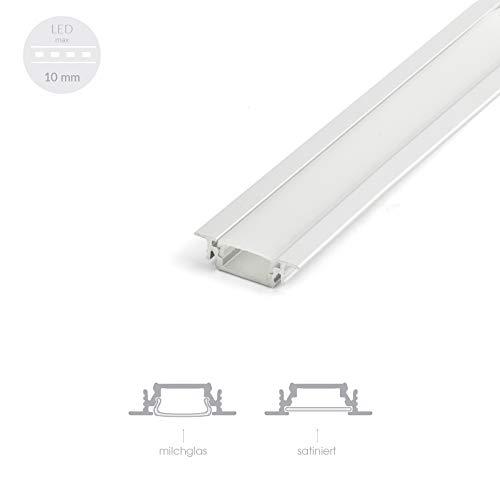 [DQ-PP] Alu Profil für LED Streifen 2m EINBAU FLACH Lichtleiste Aluminium Schiene Abdeckung