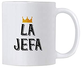 Casitika La Jefa Coffee 11 oz Mug Cup idea for CEO Boss or Mom This Girl Leader Cup Can be Used as a Pen Holder Mugs for Latin Women.