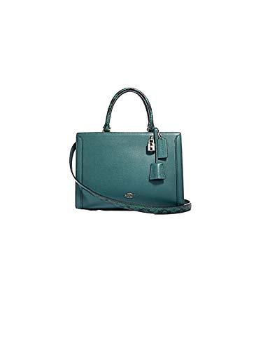 Coach Women's Zoe Dark Turquoise Snake Trim Pebbled Leather Carryall Handbag