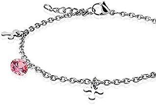 Ciondola la cavigliera/bracciale con catena in acciaio inossidabile 316L con ciondolo a forma di croce CZ - trasparente