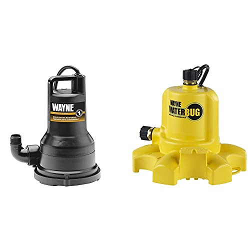 Wayne VIP50 1/2 HP Thermoplastic Portable Electric Water Removal Pump & WWB WaterBUG Submersible Pump with Multi-Flo Technology,Yellow