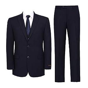 Pio Lorenzo Men's 3-Piece Suit Jacket & Hidden Expandable Waist Pants Big and Tall Tuxedo Navy